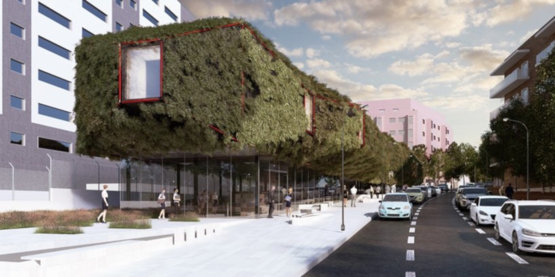 В Мадриде может появиться библиотека в виде зеленого космического корабля. здание, библиотека, космический корабль, Мадрид