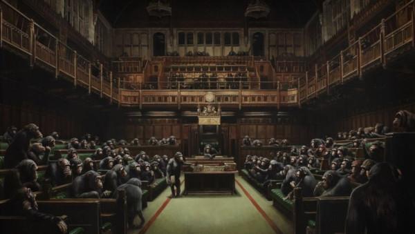 Картину Бэнкси с обезьянами в британском парламенте продадут на аукционе за рекордные $1,9 — 2,5 млн. картина, Бэнкси, акцион, обезьяны, парламент, Великобритания