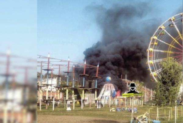 В детском парке Барнаула в разгар гуляний вспыхнул аттракцион. парк, аттракцион, Барнаул