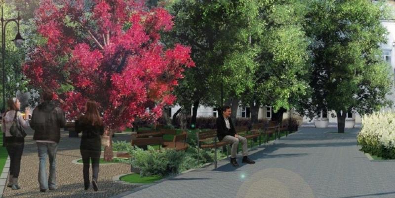Два сквера и парковки создадут на Остоженке. город, сквер, деревья, кустарники, парковки, Остоженка, Москва