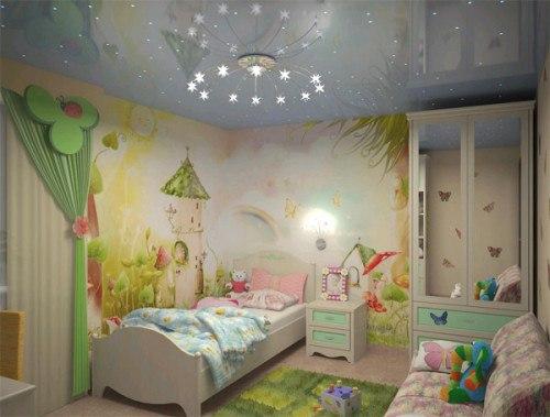 Потолок в детской: фото, способы оформления. Потолок в детской: фото 4