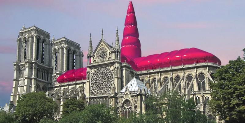 Архитекторы предложили установить над Нотр-Дамом розовую надувную крышу. собор, собор Парижской Богоматери, Нотр-Дам, крыша, розовая крыша, Париж, Франция