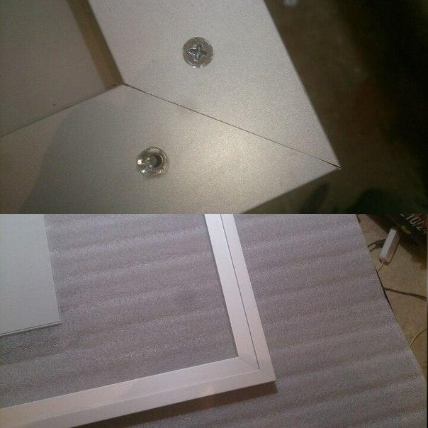 Вариант дверцы из рамочного алюминиевого профиля и стекла или зеркала на сантехнический люк в санузле.