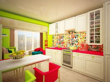 Как удачно использовать цветные элементы в дизайне кухни?