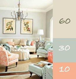 Правило сочетания цветов в интерьере: 60-30-10