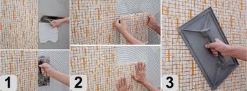 Пошаговая инструкция по укладке мозаичной плитки на сетке